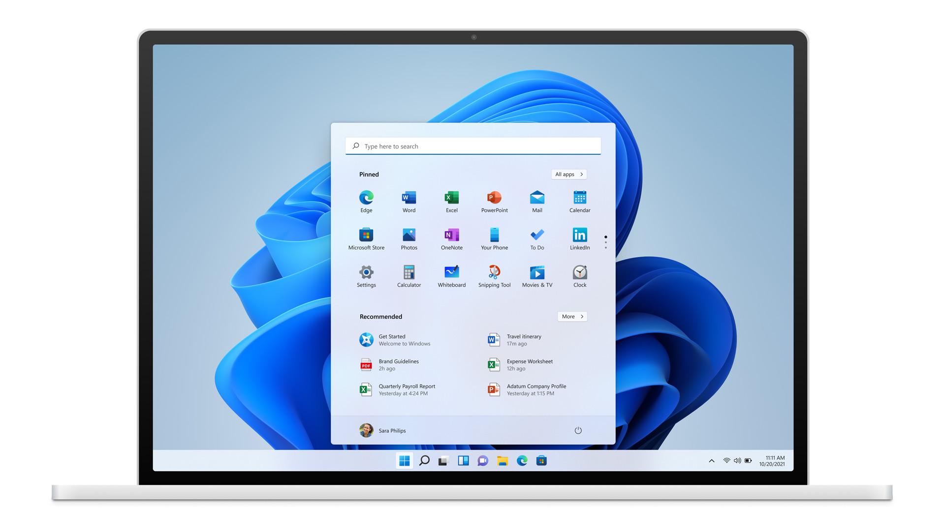 Windows 11 op een laptop
